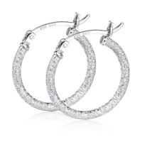 MATERIA Creolen Silber 925er 20mm Glitzer Ohrringe Damen rhodiniert diamantiert