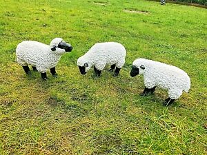 Spring Lamb Garden Ornament Resin Laying Down Sheep Statue Farmyard Gift Garden