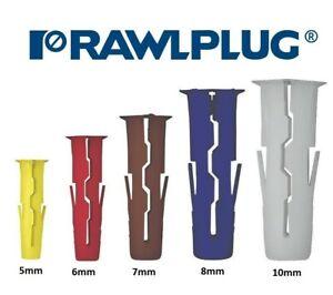 Rawlplug UNO Universal Wall Plug Fixings Anchor Rawl Plugs 5mm 6mm 7mm 8mm 10mm