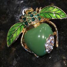 Joan Rivers Green Apple Bee Pin
