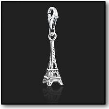 925 argento Sterling TORRE EIFFEL clip su Charms Per Braccialetti Bracciale 3D