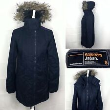 SUPERDRY The Windcheater Fur Hood Parka Jacket Size Small UK 10 Women's In Blue