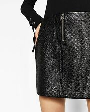 ZARA BN Mini Patent Finish Textured Black Zip Mini Skirt Mod Rock, S / UK 8-10