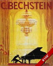 C BECHSTEIN GRAND PIANO ADVERTISEMENT PAINTING ART REAL CANVAS GICLEE RE PRINT