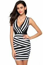 """CLARA"" GORGEOUS LADIES SIZE 14-16 BLACK WHITE STRIPE CROSSOVER STRETCH DRESS"