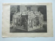 1885 Xilografía: Burgos Sepulcro de los Reyes D. Juan y Doña Isabel de Portugal