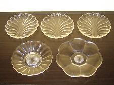 5 Pressglas-Dessert-Teller, Schälchen, Art déco-Stil, 13-16 cm, ca. 1940