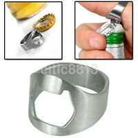 Metal Silver Stainless Steel Finger Thumb Ring Bottle Opener Open Bar Beer Tool^