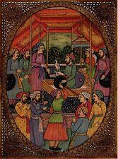 Mughal Painting Handmade Antique Finish Watercolor Moghul Miniature Durbar Art