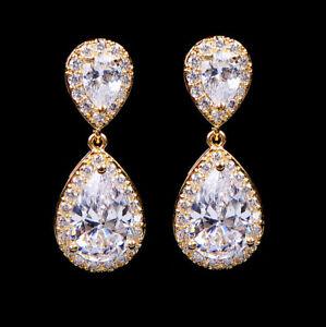 Womens Fashion 18K Gold Filled Hoop Drop Dangle White Earrings Wedding Jewelry