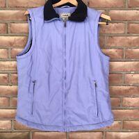 LL Bean Women's Fleece Lined Nylon Vest Size Medium-lavender-full ZIP w/pockets