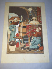 """Antique Hand-Watercolored Print Monks Brewing Beer by Harry Eliott 12.5"""" x 18"""""""