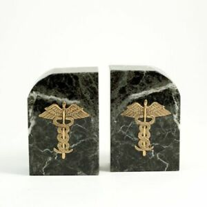 GIFT BOX DAMAGED, Bey Berk Green Marble Medical Bookends