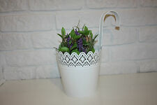 LARGE Hanging plant pot steel white floral  ***NEW*** 4756312 - NOT IKEA SKURAR