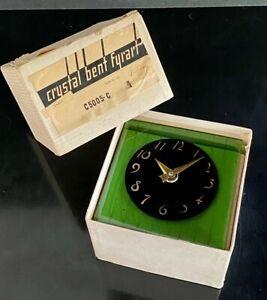 *MIB* Vintage 1930's Art Deco FYRART Emerald Green Glass Clock w/ORIGINAL BOX