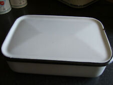 Vintage Enamel White & Black Trim Refrigerator Box with Lid