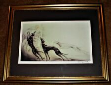 """French Louis Icart """"Coursing II"""" Woman Greyhounds Framed, Matted, Signed Print"""