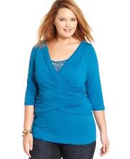 NY Collection Woman Plus 2X Surplice Neckline Lace-inset Faux-wrap Top Teal Blue