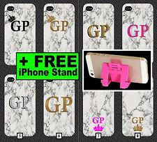 White Marble Phone Case +FREE iPhone Stand Gold Black Pink Initials Plain Marbel