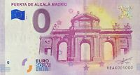 BILLET 0  EURO  PUERTA DE ALCALA MADRID ESPAGNE  2018  NUMERO 1000