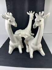 Vintage White Giraffe Figurines Fitz & Floyd 1977 Bookends Plus One!