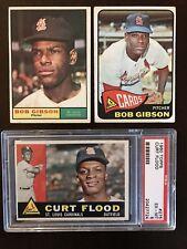 1960 1961 1965 Topps Bob Gibson HOF & Curt Flood Lot, VG-EX To EX-MT PSA 6 Cond