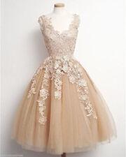 Hot Tea Length Champagne Lace Applique Wedding Dress Princess Bridal Gown Custom