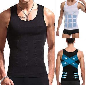 Men Slimming Body Shaper Posture Corrector Vest Abdomen Compression Shirt Tops