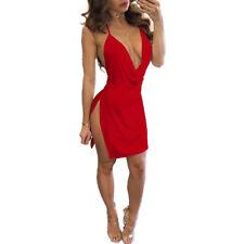 Women Summer Sexy Dress Halter Short Deep V-neck Dress Mini Party Evening Dress