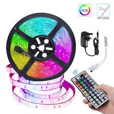 12V 5M LED Strip Lights RGB 5050SMD Colour Changing Cabinet Ceiling+Remote+Power