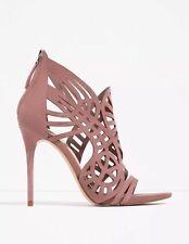 Zara High Heel Leather Openwork Open Toe Sandal Mauve Nude Suede Shoe  Nwt Sz 9