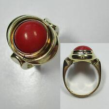 625 - Stilvoller Ring aus Gold 585 mit Koralle -872/334-