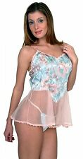 (M) Sexy Lingerie..Sheer Pink Baby Doll Jacquard Top +  matching Panty (M)