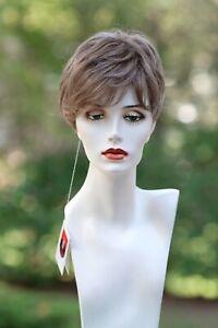 "HENRY MARGU ""PETITE JOSIE"" wig-color: Light Brown w/10% Grey -LIQUIDATION"