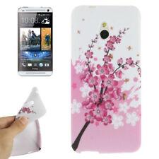TPU Case Schutzhülle für HTC One Mini M4 Flowers pink weiß Etui Hülle Cover
