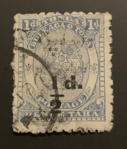 1893 Tonga Coat Of Arms 1/2d On 1d Blue Surcharge FU SG19 CAT$80