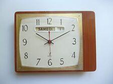 ♦ Ancienne Pendule Horloge Murale Jaz Transistor A Calendrier Vintage