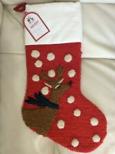 Pottery Barn Kids Hook & Loop Reindeer Stocking No Mono Red NWT!