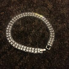 Men's Tennis Bracelet Silver Cubic Zirconia Bracelet Hip Hop Bling Rap Iced Out!