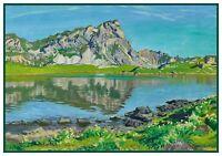 Brunigg Pass Swiss Alps Landscape by Waldemar Fink Counted Cross Stitch Pattern