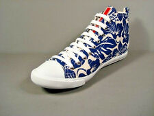 Prada Hibiscus Print Blue White Canvas Lace Up High Top Sneakers Shoes 39.5 New
