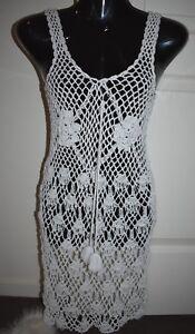 White Crochet Loose Mini Beach Bikini Cover Up Dress Hippy Boho One Size 6 8 10