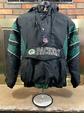 Vintage Green Bay Packers 90s Starter Puffy Hooded NFL Football Jacket Youth M
