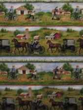Amish Farm Horse Buggy Animal Barn Scene Cotton Fabric FQ