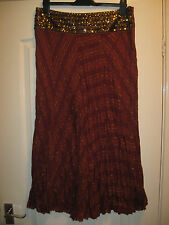 BNWOT LADIES SIZE 14 RUST & GOLD SUMMER SKIRT WITH SEQUINNED WAIST BY GEORGE