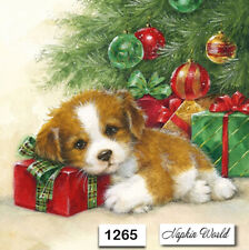 (1265) TWO Individual Paper Luncheon Decoupage Napkins -  CHRISTMAS PUPPY GIFTS