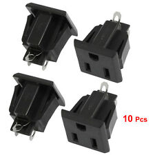 10 Pcs US 3 Pins Power Socket Plug Black AC 125V 15A LW