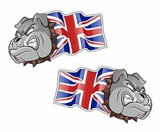 Handed Pair BULLDOG MASCOT Union Jack British UJ UK Flag vinyl car sticker 75mm