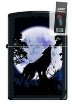 Zippo 0024 wolf howling at moon black matte full size Lighter + Flint Pack