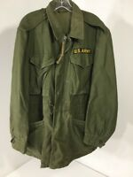 Vintage US Army M-1951 Jacket Shell Field Coat Olive Green Small Long Pre Owned
